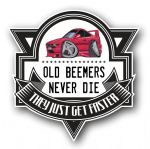 Koolart OLD BEEMERS NEVER DIE Motif For Retro BMW 8 Series Coupe External Vinyl Car Sticker Decal Badge 100x100mm